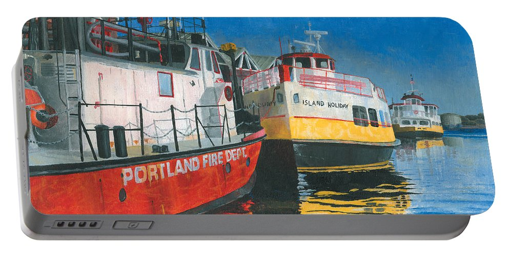 Fireboat Portable Battery Charger featuring the painting Fireboat And Ferries by Dominic White