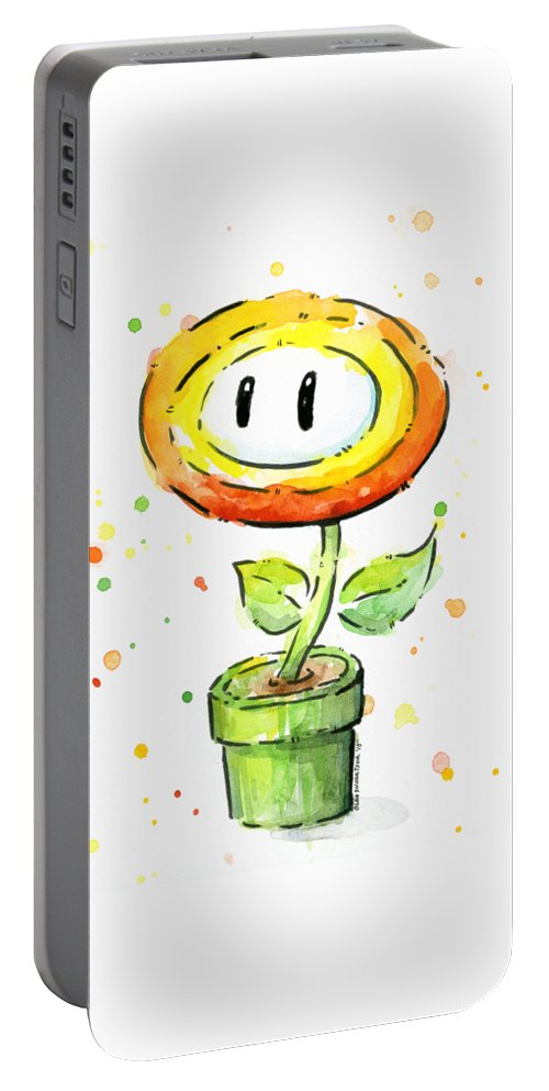 Fire Portable Battery Charger featuring the painting Fireflower Watercolor by Olga Shvartsur