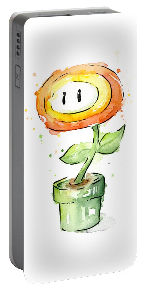Nintendo Portable Battery Charger featuring the painting Fireflower Watercolor Painting by Olga Shvartsur