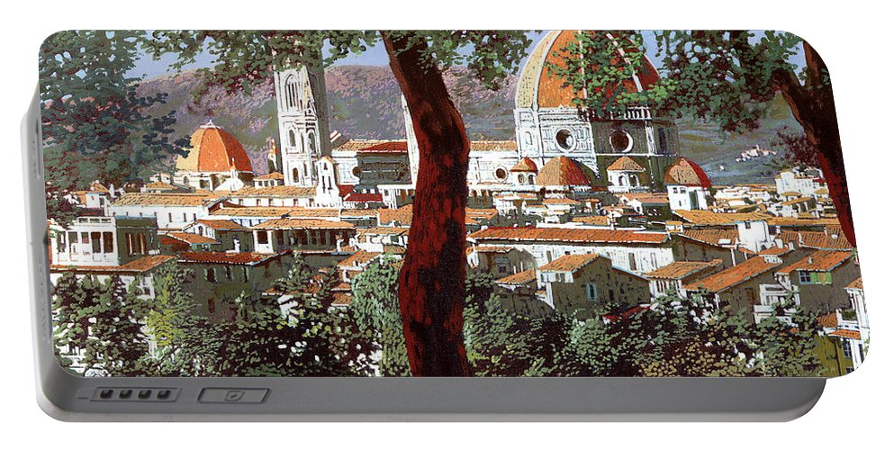 Landscape Portable Battery Charger featuring the painting Firenze by Guido Borelli