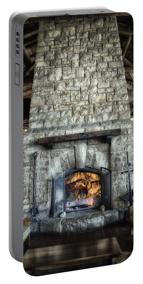 Fireplace Portable Battery Charger featuring the photograph Fireplace At The Lodge Vertical by Thomas Woolworth