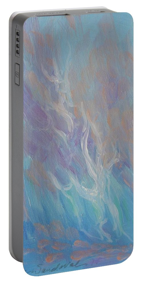 Fires Portable Battery Charger featuring the painting Fires Of Revival by Kathleen Sandoval