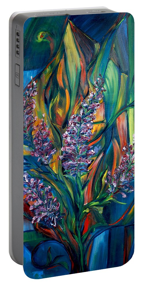 Fireweed Portable Battery Charger featuring the painting Fireweed Bouquet by Jennifer Christenson