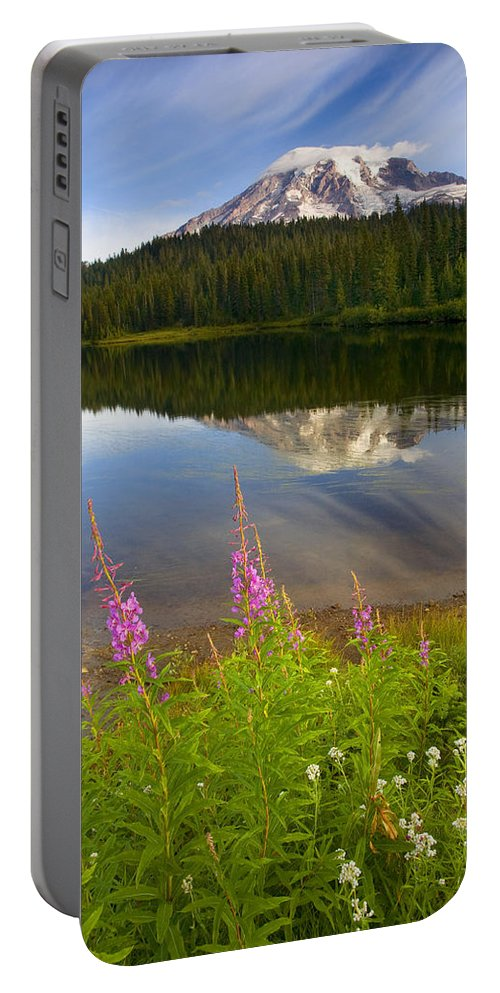 Fireweed Portable Battery Charger featuring the photograph Fireweed Reflections by Mike Dawson
