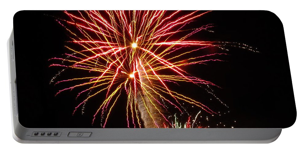 Fireworks Portable Battery Charger featuring the photograph Firework Pink And Gold by Adrienne Wilson