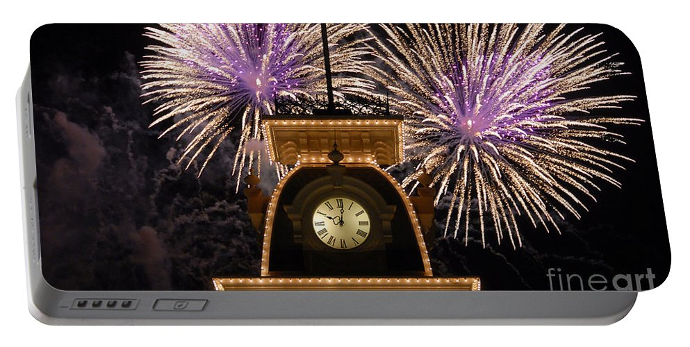 Fireworks Portable Battery Charger featuring the photograph Fireworks At Ten by David Lee Thompson