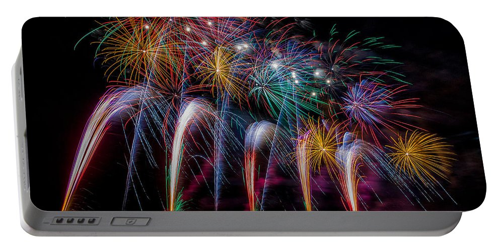Fireworks Portable Battery Charger featuring the photograph Fireworks Line by Rikk Flohr