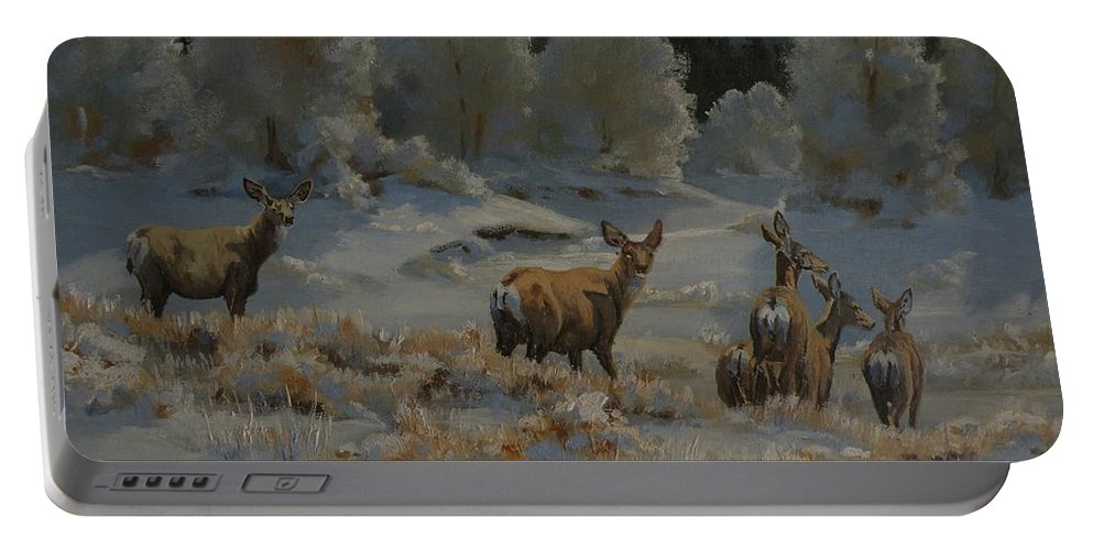 Mule Deer Portable Battery Charger featuring the painting First Cold Snap by Mia DeLode