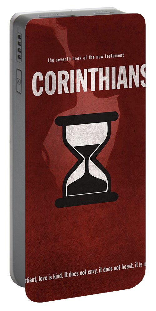 First Corinthians Portable Battery Charger featuring the mixed media First Corinthians Books Of The Bible Series New Testament Minimal Poster Art Number 07 by Design Turnpike