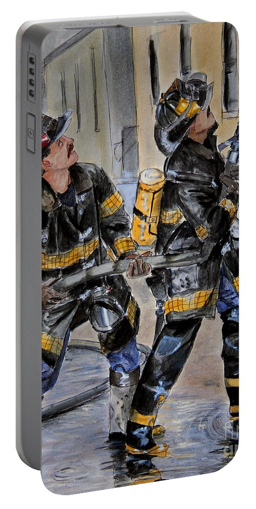 Fire House Portable Battery Charger featuring the painting First Due-engine 73 by Paul Walsh