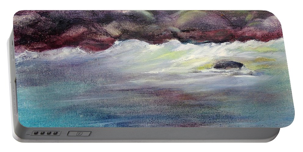 Portable Battery Charger featuring the painting First Light At Hulihee by Richard Rochkovsky