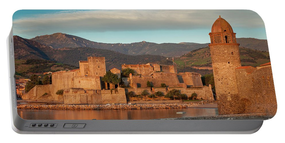 Beach Portable Battery Charger featuring the photograph First Light Over Collioure by Brian Jannsen