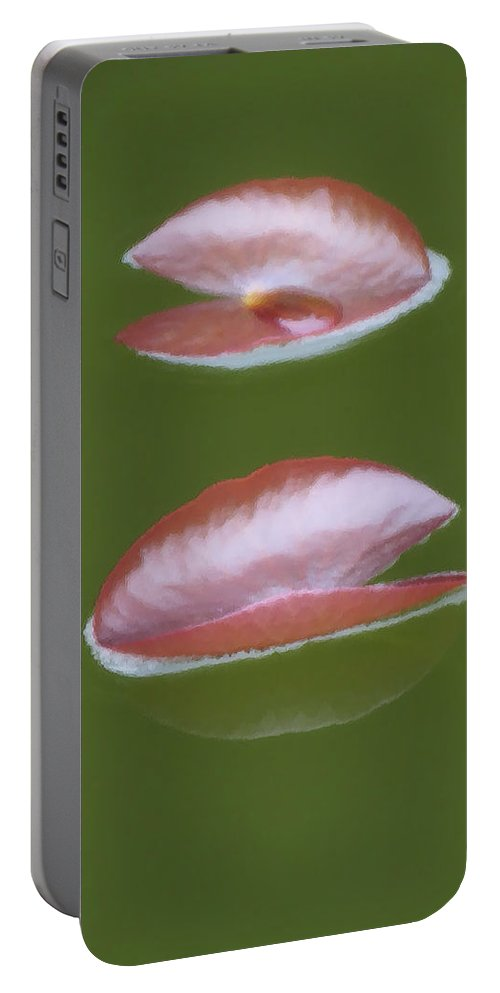 Lily Pads Portable Battery Charger featuring the photograph First Lily Pads - Brush Strokes by MTBobbins Photography