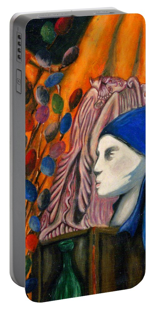 Mannequin Portable Battery Charger featuring the pastel First Oil Pastel by Jean Haynes
