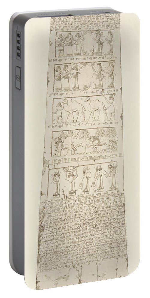 Obelisk Portable Battery Charger featuring the drawing First Side Of Obelisk, Illustration From Monuments Of Nineveh by Austen Henry Layard