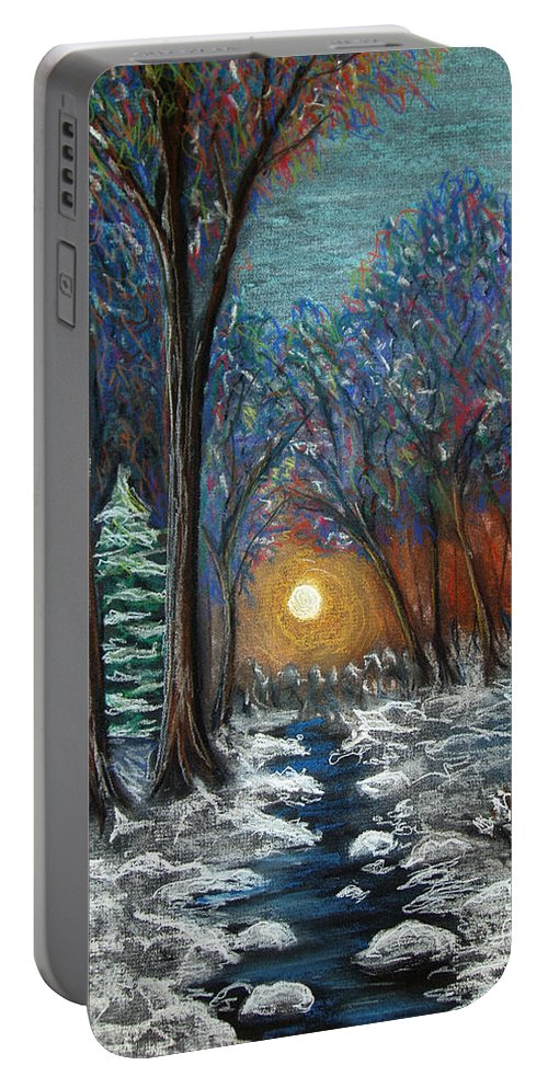 Snow Portable Battery Charger featuring the pastel First Snow by Nancy Mueller