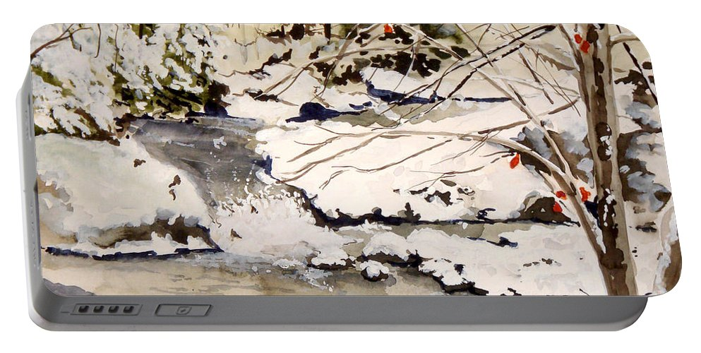 Winter Scene Portable Battery Charger featuring the painting First Snowfall by Jean Blackmer