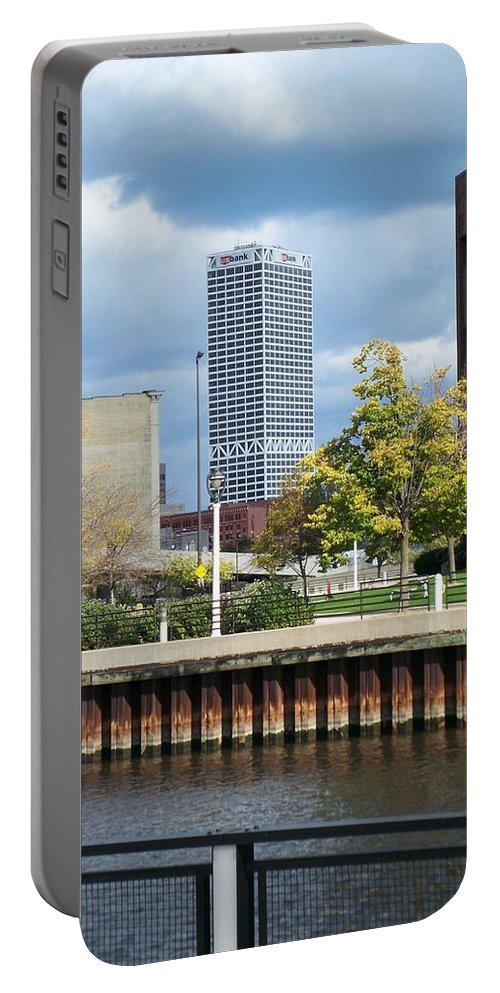 First Star Bank Portable Battery Charger featuring the photograph First Star Tall View From River by Anita Burgermeister