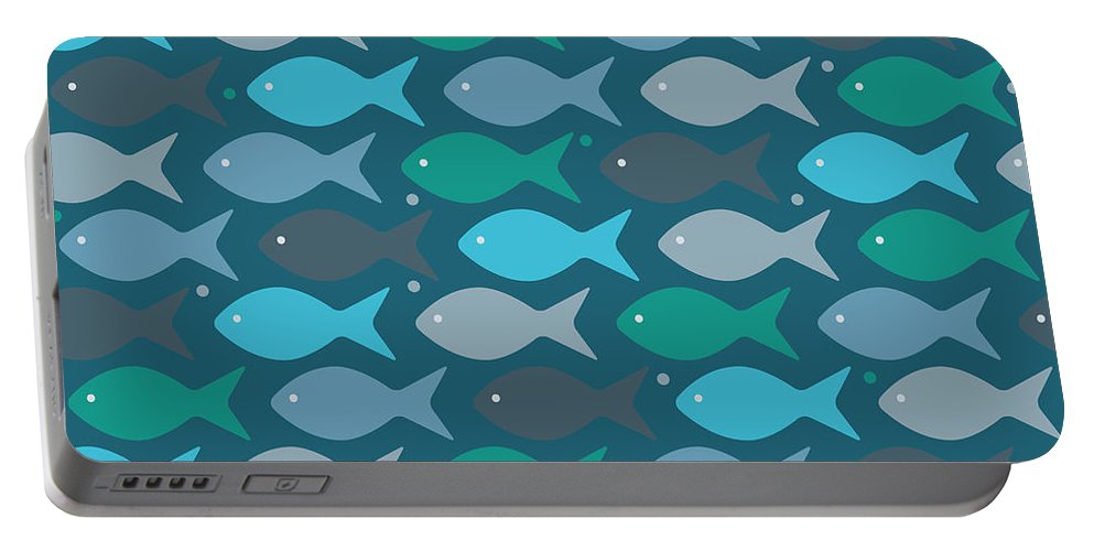 Dolphins Portable Battery Charger featuring the digital art Fish Blue by Mark Ashkenazi