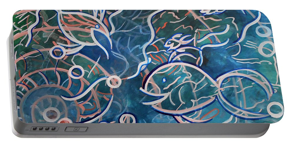Expressionist Watercolor Painting Paintings Gouache Aquatic Ocean Sea Underwater Fish Portable Battery Charger featuring the painting Fish Family by Laura Joan Levine