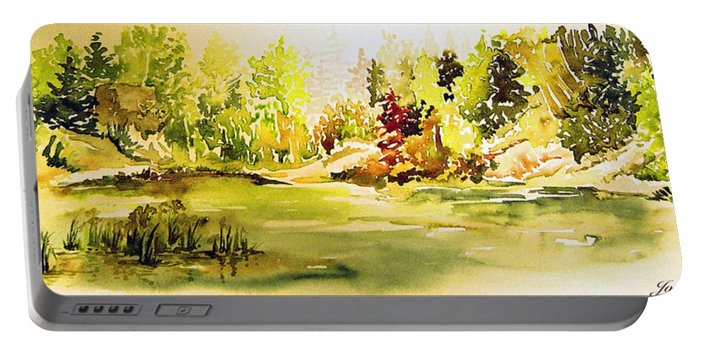 Fish Pond At Nutimik Lake Manitoba Whiteshell Portable Battery Charger featuring the painting Fish Pond At Nutimik Lake Manitoba by Joanne Smoley