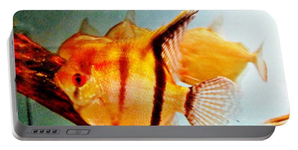 Gold Portable Battery Charger featuring the pastel Fish Tank by Don Baker