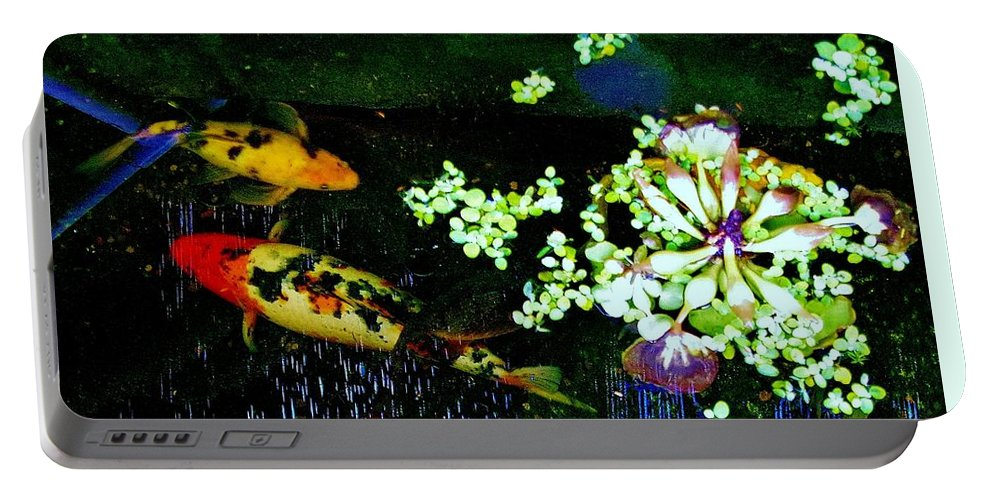 Fish Portable Battery Charger featuring the photograph Fish Water Flowers 3 by Phyllis Spoor
