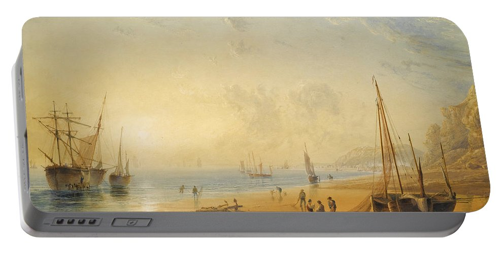 Anthony Vandyke Copley Fielding Portable Battery Charger featuring the drawing Fisherfolk On The Shore Near Dover At Sunset by Anthony Vandyke Copley Fielding