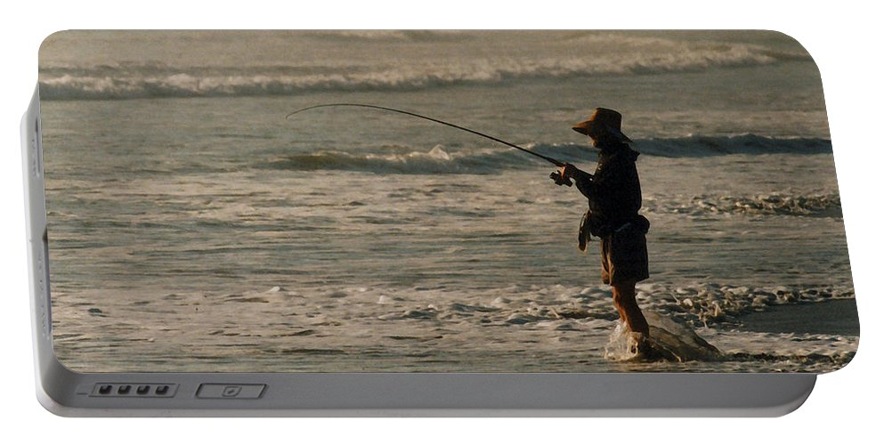 Fisherman Portable Battery Charger featuring the photograph Fisherman by Steve Karol