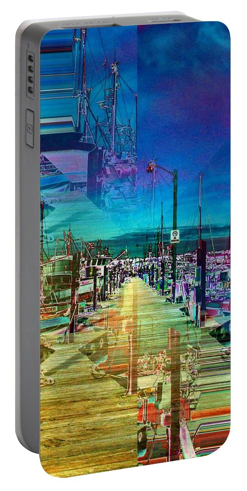Seattle Portable Battery Charger featuring the digital art Fishermans Terminal Pier 2 by Tim Allen