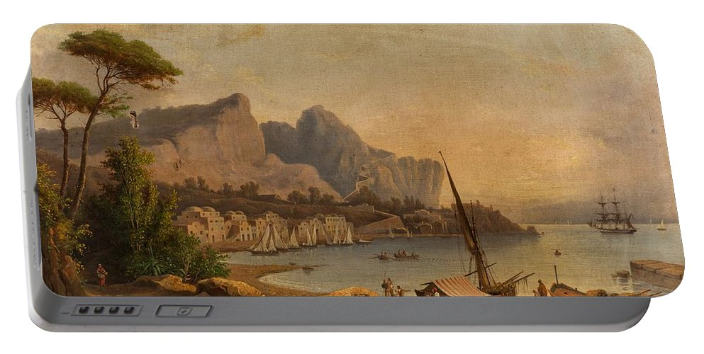 19th Century Continental School Fishermen At The Bay Portable Battery Charger featuring the painting Fishermen At The Bay by MotionAge Designs