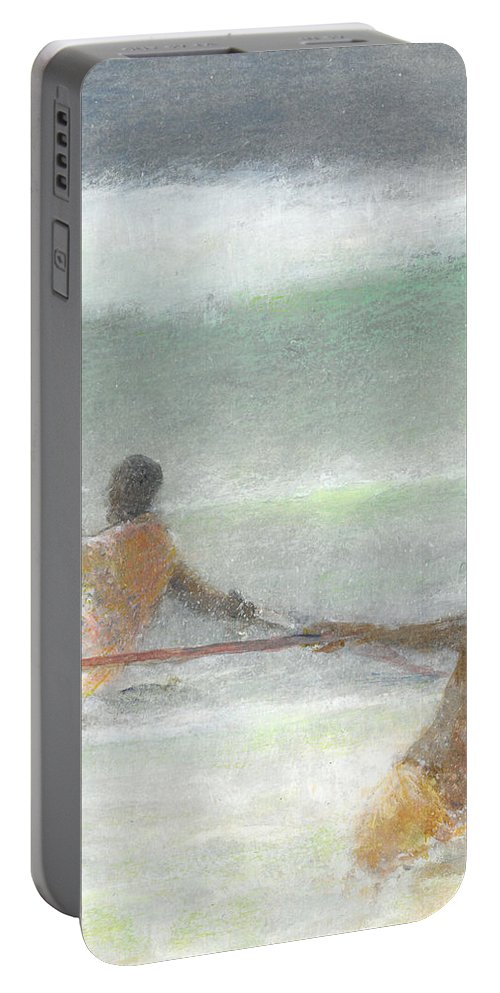 Fishing Portable Battery Charger featuring the painting Fishermen Hauling Nets by Lincoln Seligman
