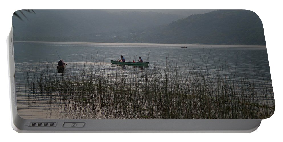 Fishermen Portable Battery Charger featuring the photograph Fishermen On Lake Atitlan by Douglas Barnett