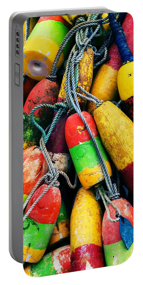 Colorful Portable Battery Charger featuring the photograph Fishermen's Floats by Renee Hong