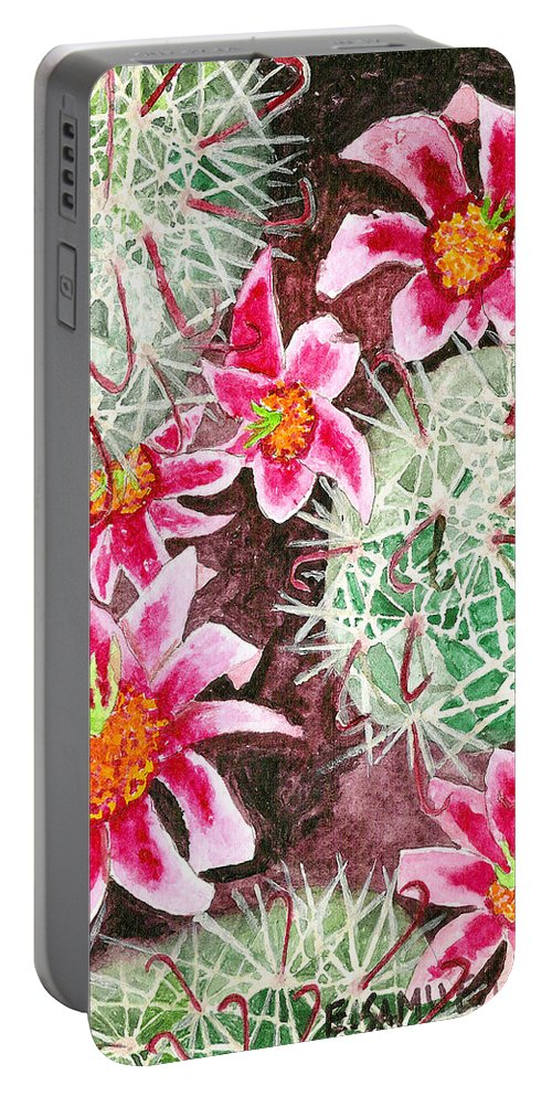 Fishhook Portable Battery Charger featuring the painting Fishhook Beauty by Eric Samuelson