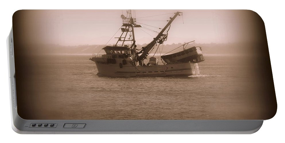 Boat Portable Battery Charger featuring the photograph Fishing Boat In Monterey Bay by Joy Patzner
