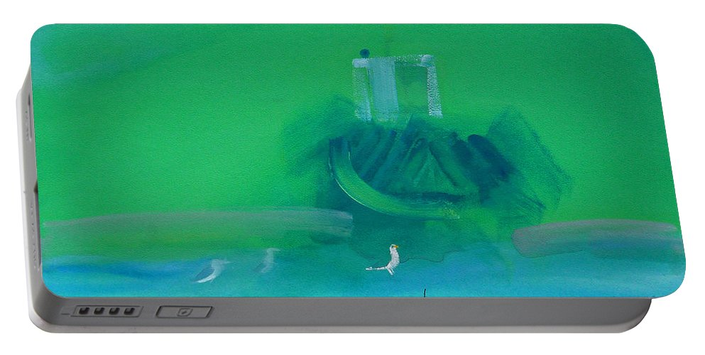 Fishing Boat Portable Battery Charger featuring the painting Fishing Boat With Seagulls by Charles Stuart