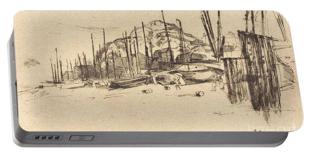 Portable Battery Charger featuring the drawing Fishing-boats, Hastings by James Mcneill Whistler