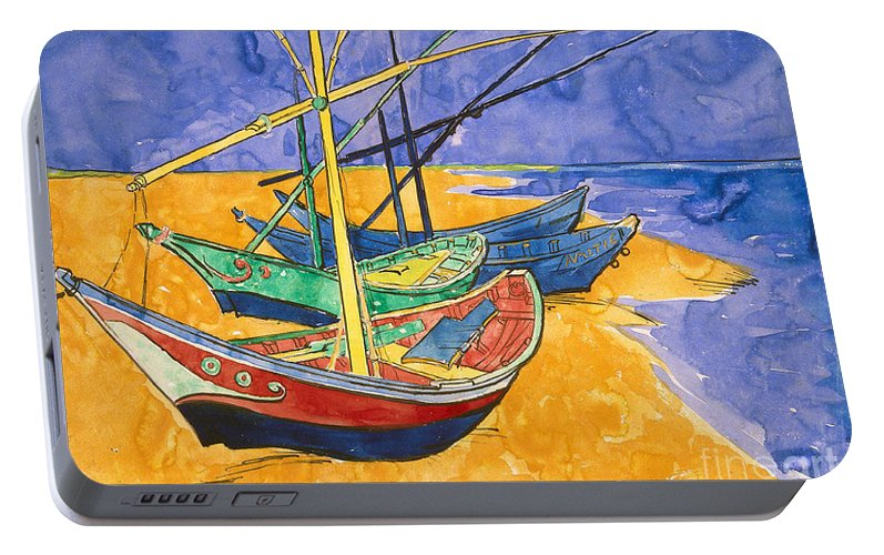 Fishing Portable Battery Charger featuring the painting Fishing Boats On The Beach At Saintes Maries De La Mer by Vincent Van Gogh