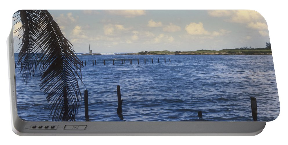 Cojimar Cuba Hemingway Fishing Cove Water Waterscape Waterscapes Coves Portable Battery Charger featuring the photograph Fishing Cove by Bob Phillips