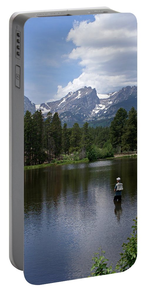Fishing Portable Battery Charger featuring the photograph Fishing In Colorado by Heather Coen