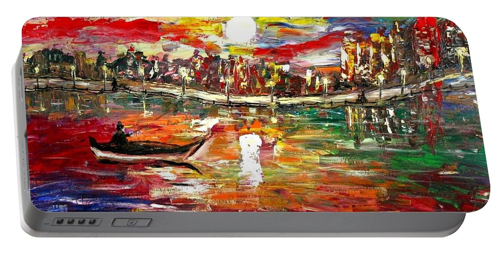 Art Portable Battery Charger featuring the painting Fishing In The Moonlight by Luiza Vizoli