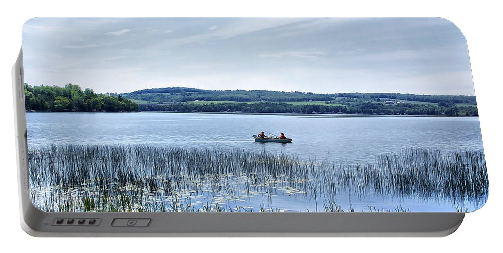 Lake Portable Battery Charger featuring the photograph Fishing On Lake Carmi by Deborah Benoit