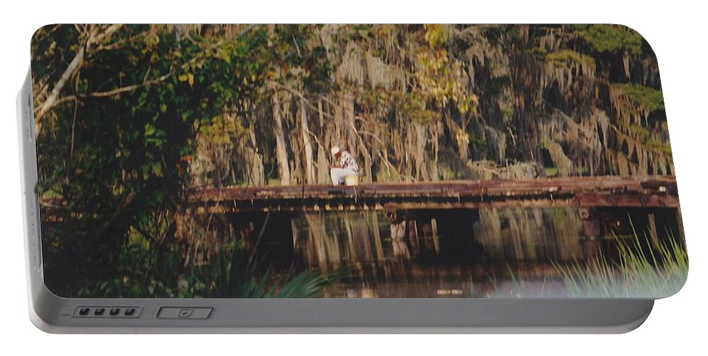 Landscape Portable Battery Charger featuring the photograph Fishing On The Bridge by Michelle Powell