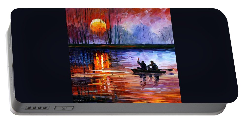 Seascape Portable Battery Charger featuring the painting Fishing On The Lake by Leonid Afremov