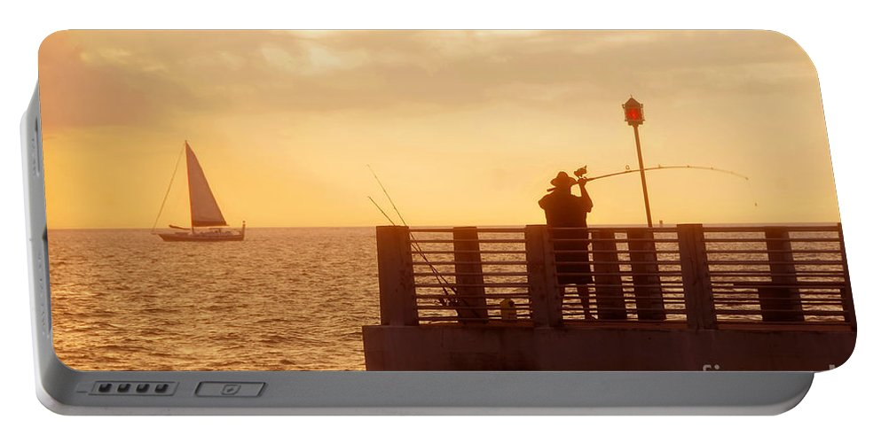 Florida Portable Battery Charger featuring the photograph Fishing The Gulf by David Lee Thompson
