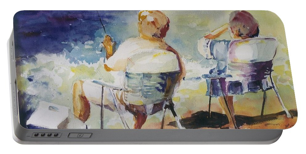 Watercolor Custom Art Painting Fishing Fishermen Couple Beach Ocean Portable Battery Charger featuring the painting Fishing Together by Maggie Clark