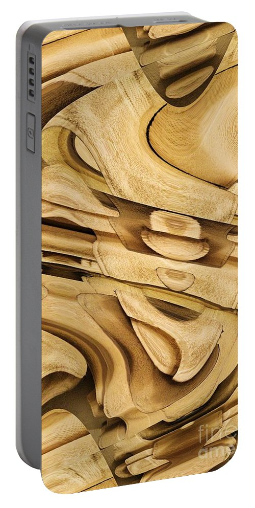 Abstract Portable Battery Charger featuring the digital art Fitted Wood by Ron Bissett