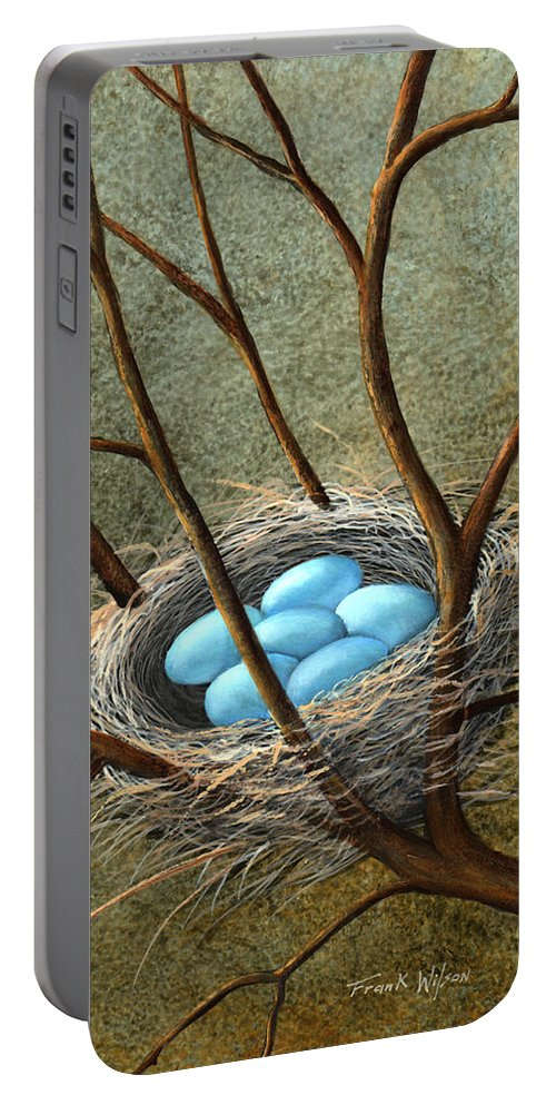 Birds Portable Battery Charger featuring the painting Five Blue Eggs by Frank Wilson