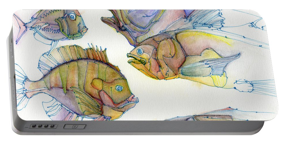 Portable Battery Charger featuring the painting Five Fading Fish by Cee Grant